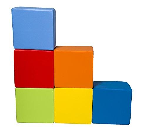 Velinda 6 Großbausteine Softbausteine Schaumstoffbausteine Spielbausteine Quader-Set (Farbe: mix1)