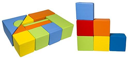 Velinda 17 Großbausteine Schaumstoffbausteine Softbausteine Bauklötze Schloss+Quader-Set (Farbe: mix1)