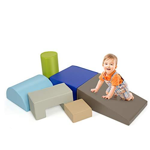 COSTWAY 6 STK. Schaumstoffbausteine, Riesenbausteine zum Toben und Klettern, Softbausteine aus Schaumstoff, Großbausteine Mehrfarbig, für Kinder im Vorschulalter, Babys und Schulkinder (Blau+braun)