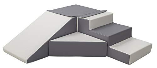Velinda 4 Großbausteine Schaumstoffbausteine Spielbausteine Bauklötze Rutsche-Set (Farbe: weiß,grau)