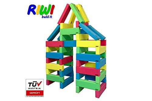 RIWI 48er Bausteinset | XXL Schaumstoff Bausteine | große weiche Bauklötze | Waschmaschinenfest | TÜV Austria Zertifiziert