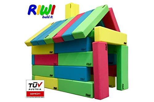 RIWI 24er Bausteinset | XXL Schaumstoff Bausteine | große weiche Bauklötze | Waschmaschinenfest | TÜV Austria Zertifiziert