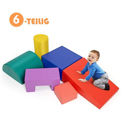 COSTWAY 6 TLG. Schaumstoffbausteine, Riesenbausteine zum Toben und Klettern, Softbausteine aus Schaumstoff, Großbausteine Mehrfarbig, für Kinder im Vorschulalter, Babys und Schulkinder (Modell 3)