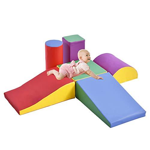 OneV FT 6-teilig Schaumstoff bausteine und Kriechspielset Leichtes sicheres interaktives Set für Kleinkinder und Kinder im Vorschulalter Indoor-Spiel.