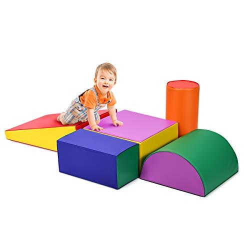 COSTWAY 5 TLG. Schaumstoffbausteine, Riesenbausteine zum Toben und Klettern, Softbausteine aus Schaumstoff, Großbausteine bunt, Bauklötze für Kinder im Vorschulalter, Babys und Schulkinder