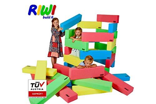 RIWI 12er Bausteinset | XXL Schaumstoff Bausteine | große weiche Bauklötze | Waschmaschinenfest | TÜV Austria Zertifiziert