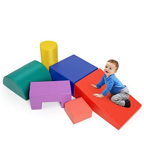 COSTWAY 6 STK. Schaumstoffbausteine, Riesenbausteine zum Toben und Klettern, Softbausteine aus Schaumstoff, Großbausteine Mehrfarbig, für Kinder im Vorschulalter, Babys und Schulkinder (Modell 3)