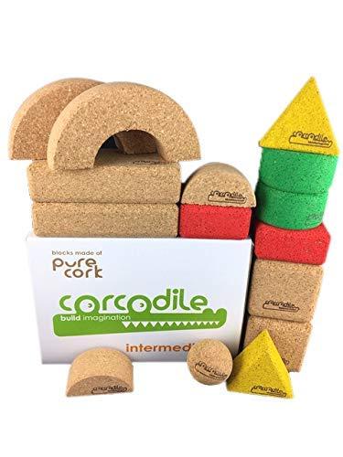 Corcodile Kork Bausteine ohne Plastik für Kinder ab 1 Jahr (Set Intermediate 15 Teile)