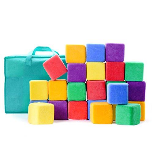 Milliard - Softbausteine aus Schaumstoff - zum Stapeln, Sortieren und Bauen - Würfel mit abnehmbaren Bezügen und Tragetasche - 24 Stück - Jumbo-Größe - 10 cm