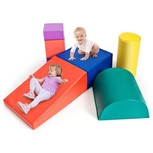 DREAMADE Riesenbausteine 6 TLG., Schaumstoff Bausteinset, Weiche Schaumstoffbausteine für Kinder Baby, Softbausteine Großbausteine für Kinderzimmer Kindergarten (Farbe Bunt)