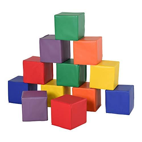 HOMCOM Bausteinset 12er-Set Schaumstoff Bausteine Bauklötze Bauspielzeug für Kinder Schaumstoffblöcke für 1-3 Jahre alt Kinder Kunstleder EPE