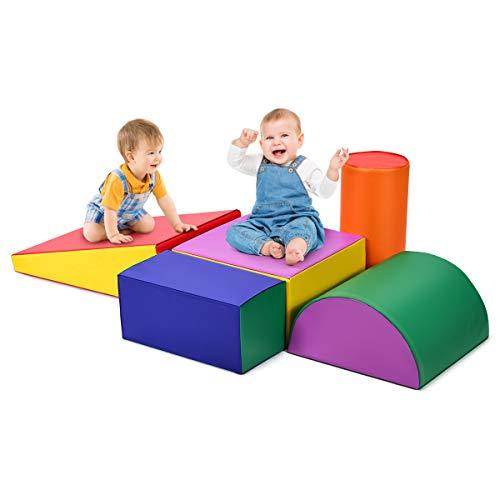 GOPLUS SoftbausteineSet 5 Stück, Schaumstoffbausteine inkl. 5 Verschiedene Formen, Treppe und Rutsche für Kinder, Riesenbausteine Großbausteine Spielzeug zum Klettern Rutschen Krabbeln (Bunt)