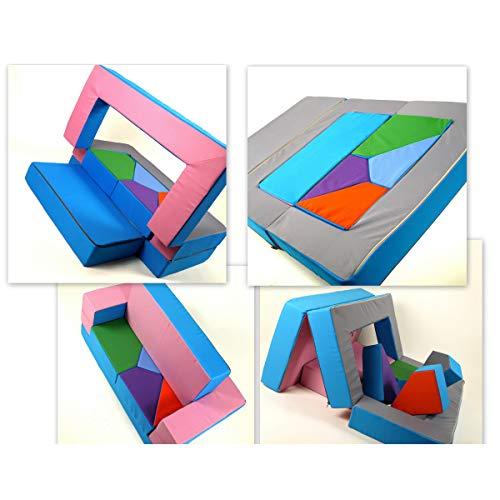 barabike Spielsofa 4in1 Kindersofa KG01B Spielmatraze für Das Kinderzimmer Spielpolster Softsofa rosa/hellblau Puzzle Kinderzimmersofa Spieltisch Kindermöbel