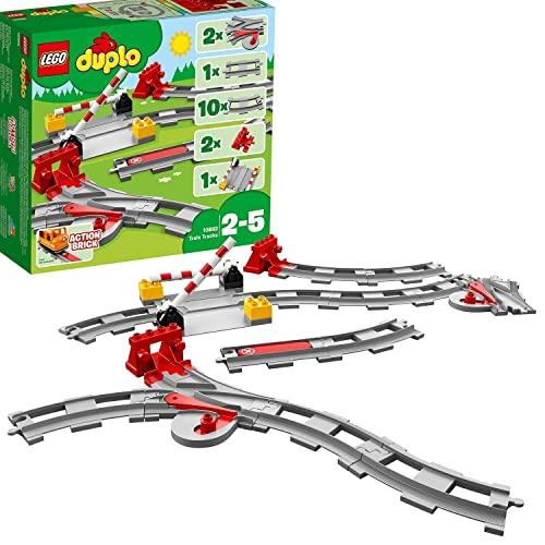 LEGO 10882 DUPLO Town Eisenbahn Schienen, Bauset mit einem roten Funktionsstein zum Stoppen des Zugs