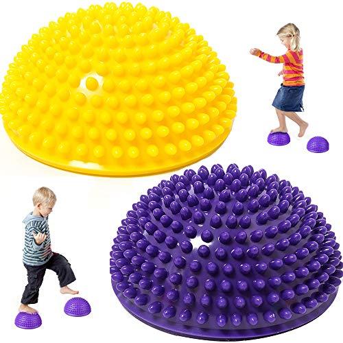 Lezed Igel Balance Halbkugeln Igelball Balance Ball Balance Pod Igel Gymnastik Yoga Balance-Kugel für Kinder & Erwachsene Fördert Koordination und Balance Fitness Training 2 Stück Gelb & Lila