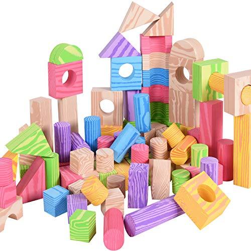 Spielwerk Bauklötze 100 große XL Bunte Bausteine weicher Schaumstoff Holzdesign Steine Pädagogisches Kinder Spielzeug