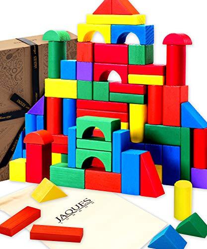 Jaques Von London - Holzbausteine für Kinder perfekt Babyspielzeug ab 1 Jahr geeignet Holzspielzeug 1 2 3 Jahr - schön Holzbauklötze Bunt .
